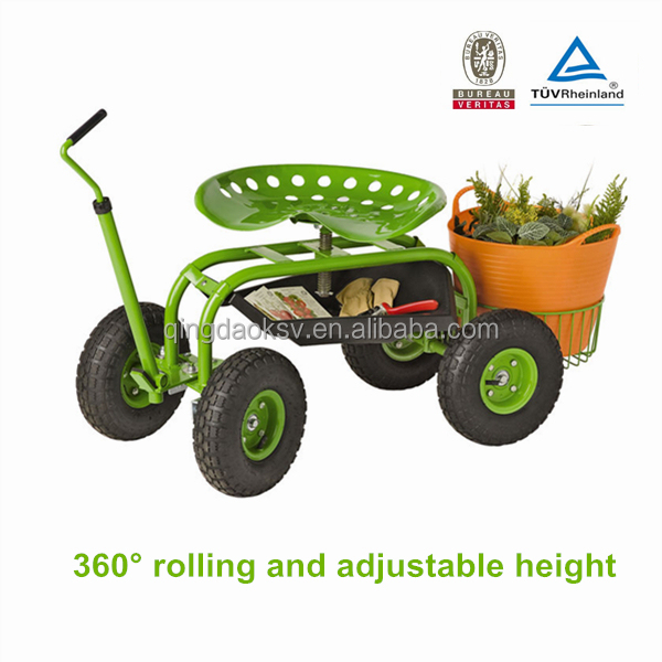 Garden Work Seat Rolling Garden Seat Cart Removable Seat