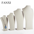 FANXI China Custom Multi-size Korea Linen Neck Form Jewelry Bust Necklace Holder Wholesale