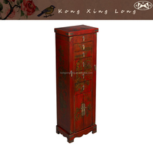 Vintage Antique Furniture Red Hand Painted Storage Cabinet, Chinese style Jewerly Armoire