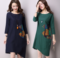 autumn large size women retro printing dress cotton loose long sleeved dress for women