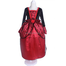 Red lace dress Halloween sexy vampire costume with rose cosplay costume