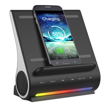 new products 2018 car usb solar CW6687E Processor D100 3 in 1 Docking Station with Speaker and QI Wireless Charger