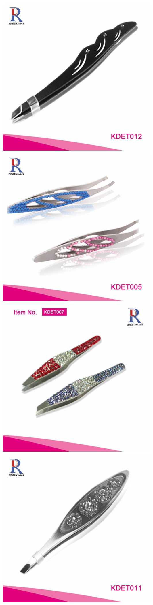 Rhinestone crystal eyebrow tweezers for ladies