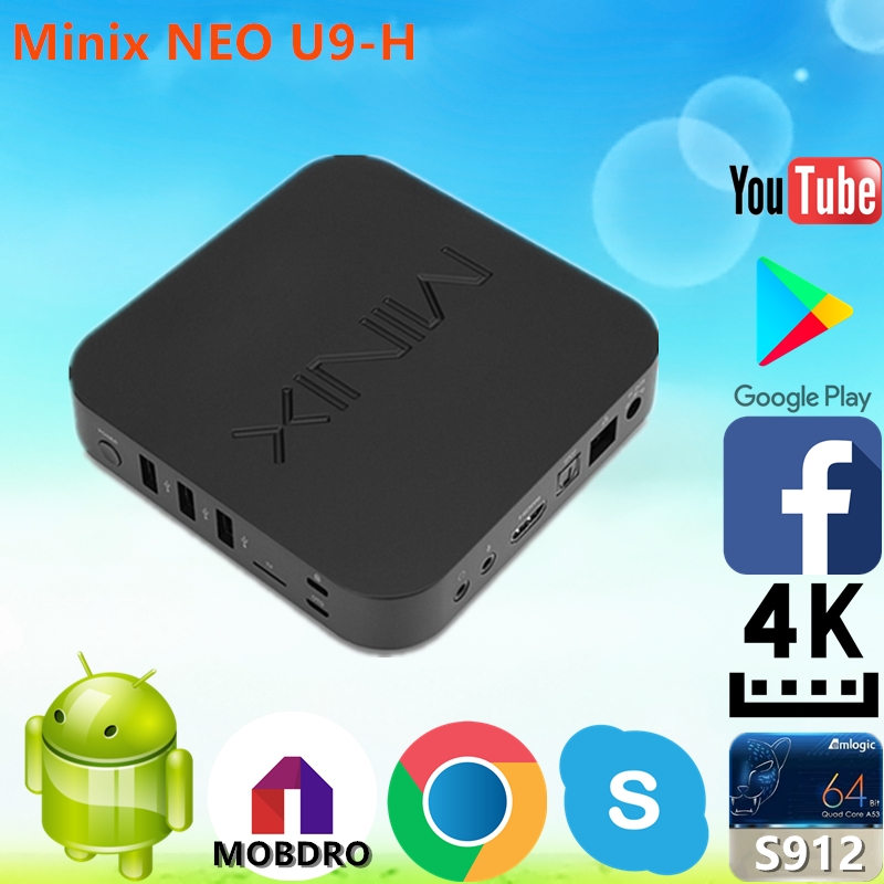 Low price of Minix NEO U9-H S912 2G 16G install free play store app with great priceAndroid 6.0 TV Box