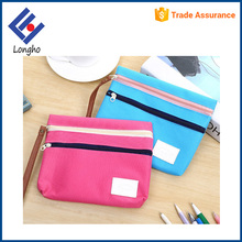 Multipurpose inner small slip pocket canvas pen pouch long zipper puller lanyard compartment 2 flat pencil case