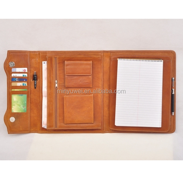 fashion brown flap business portfolios genuine leather padfolio case portable pad case office gifts