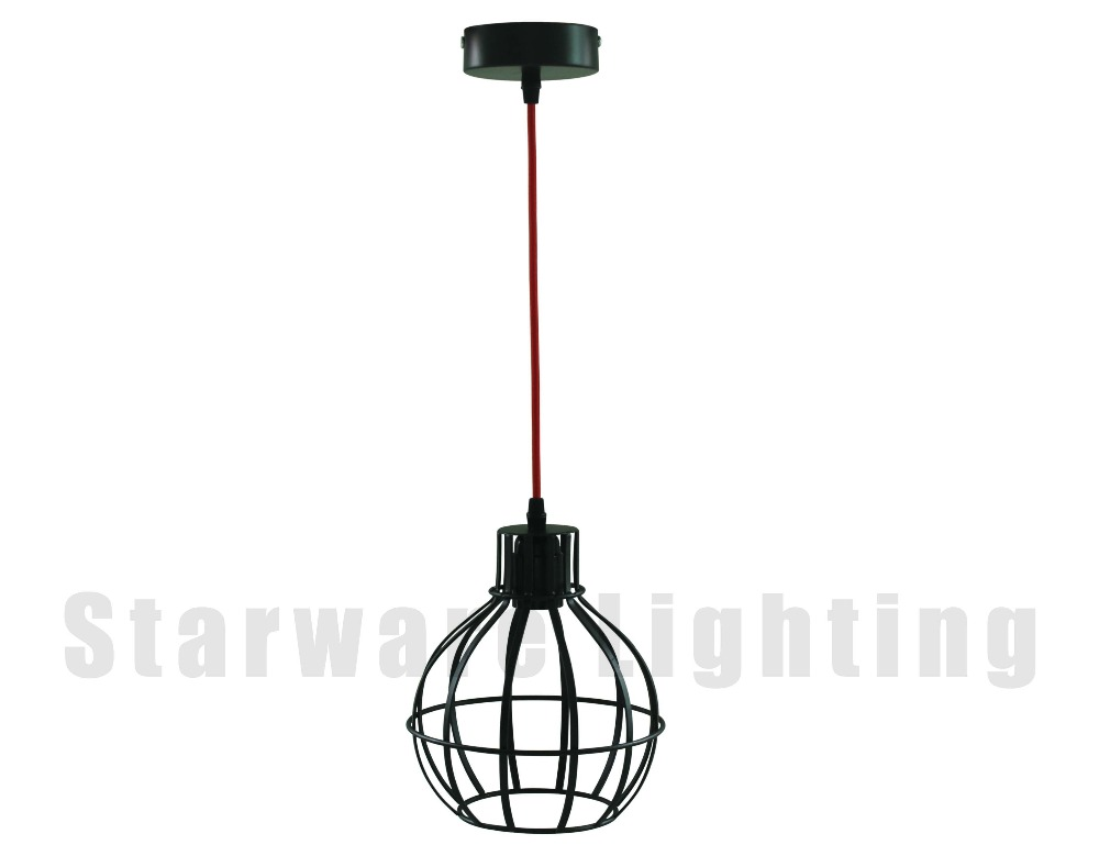 Decorative Pendant Lighting Vintage Industrial Style Lights Edison Bulb With Textile Braided Wire Cage Pendant Light