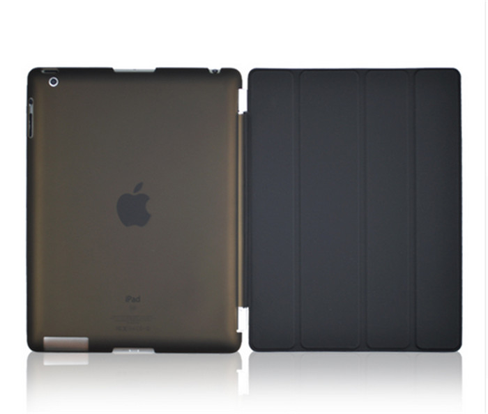50Pcs High quality PU Leather Protective front Smart Cover+ 50pcs Matte back Hard Back Case For IPAD 2 3 4 Multi-Colors