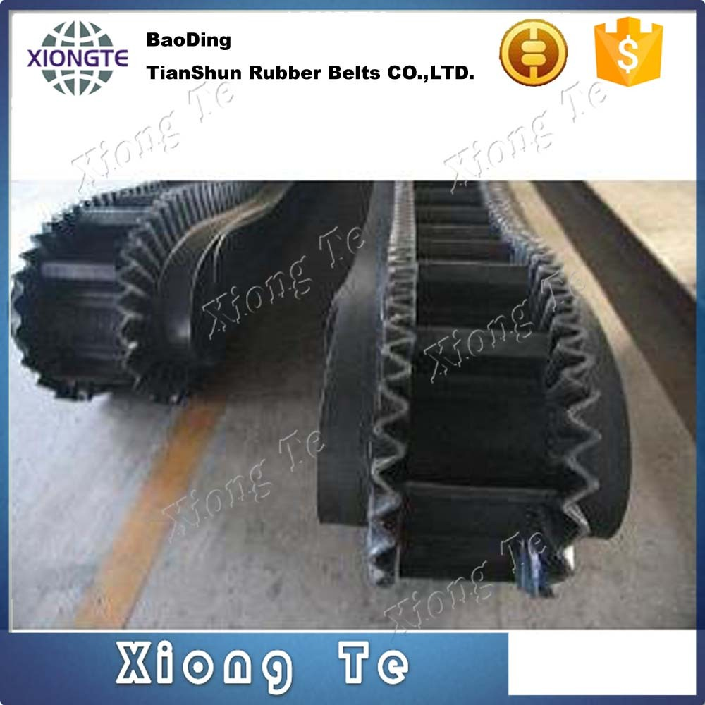 corrugated sidewall conveyor belt, cleats conveyor belt for coal, chemical