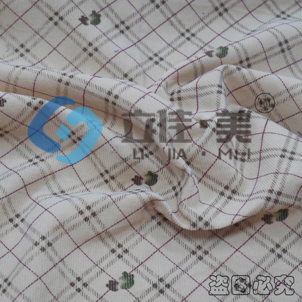 21W Printed Cotton Corduroy Textile Product check Fabric for Sofa