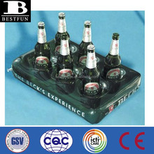 promotional custom inflatable 6 pack beer can holder pool floating beer can holder soft drinks can holder