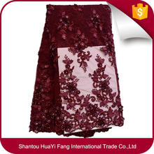 Top end red wine french lace fabric 3d flowers handmade beaded tulle fabric with sequins for show HY0649