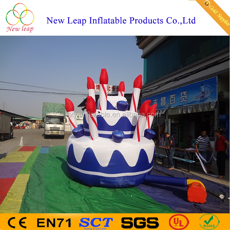 Promotion giant inflatable birthday cake model for hot sale
