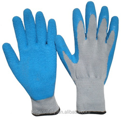 21s*5 Polyester or T/C Lining Crinkle Coated Blue Latex Rubber Glove china supplier