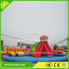Giant ocean wave inflatable wet water slide with swimming pool