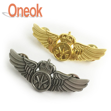 custom cool metal pilot wing badge military pin brooch