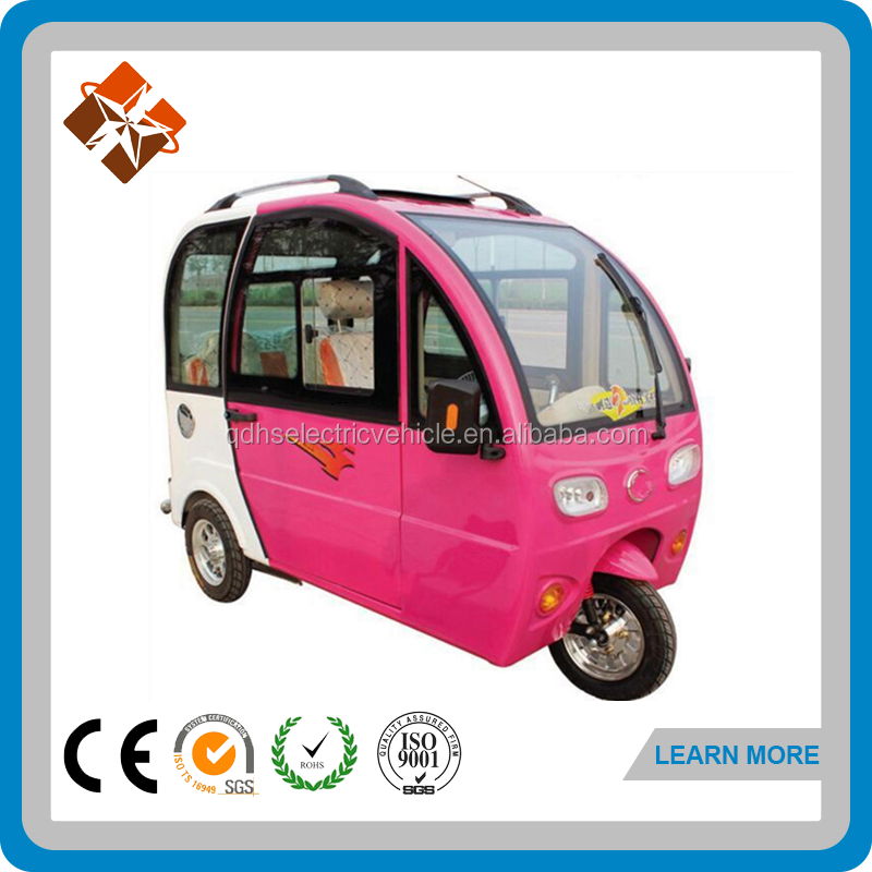 Good design pink motor tricycle moto taxi with cabine
