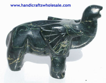 Elephant Figurine Handcrafted Exotic Art Sculpture - Unique Jade Handmade Home Decoration Crafts Stone Statues Carved Collection