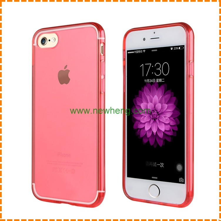 Translucent Solid Color TPU cell phone Case For iPhone 7 colorful translucent tpu back cover case