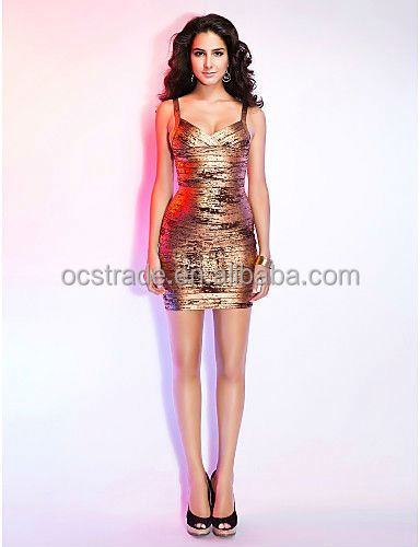 2016 gold ball dress stylish v neck gown