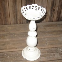 flower shape shabby white wooden and metal pillar candle holder