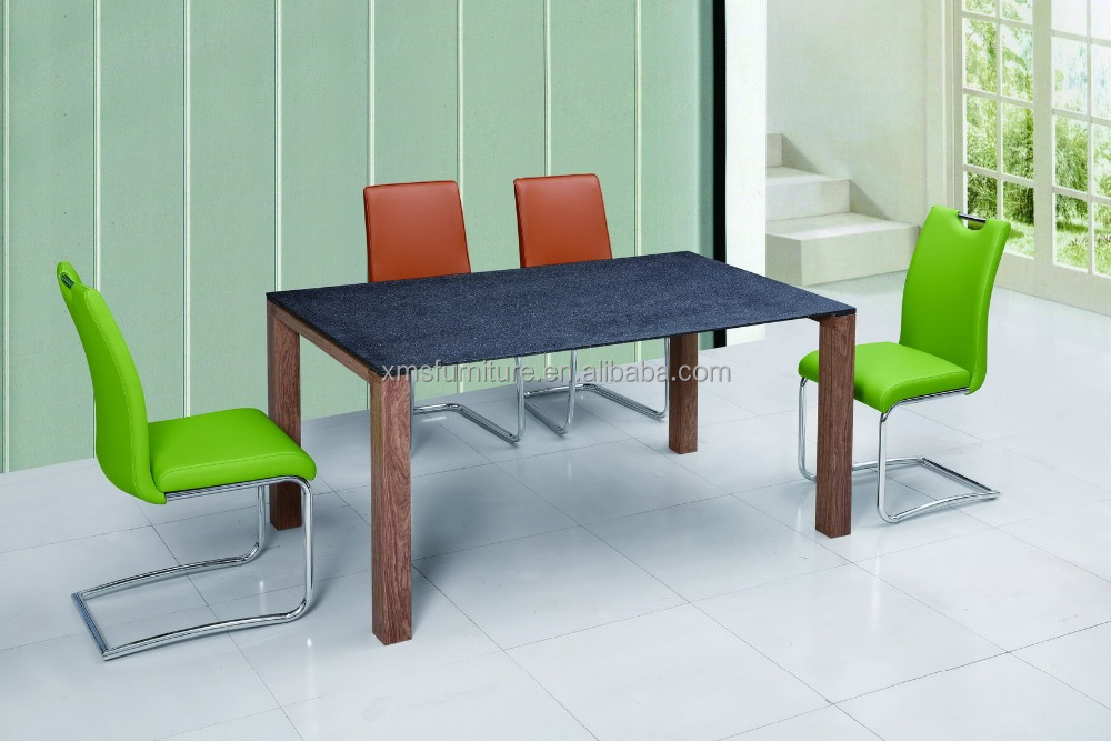 modern style luxury black stone glass dining restaurant table with veneer legs