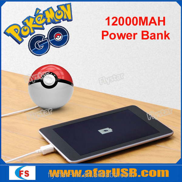 2016 Hot Pokemon Go Portable Power Bank PokeBall Power Bank 12000mA manual for battery charger