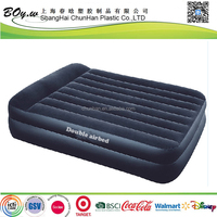 Fashion factory OEM mattress pvc double electirc built in bump flocked inflatable double raised airbed