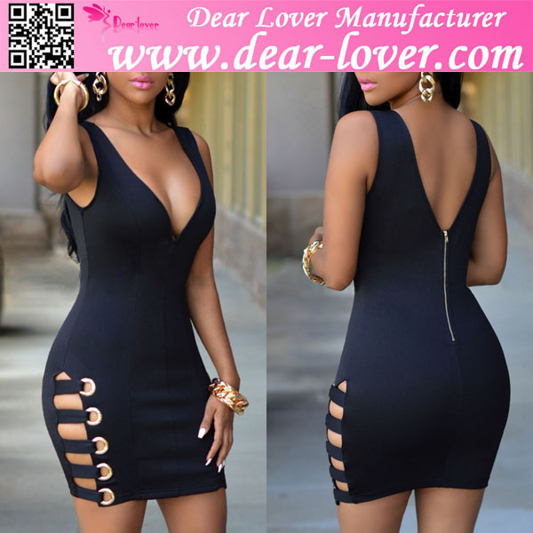 Black Womens V Neck Sexy Loaded Tight Dress Hot Girl Club Dresses 2016