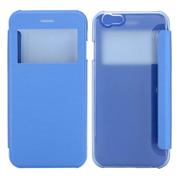 Caller ID Display Window Transparent PC and Leather Phone Case for iPhone6 4.7 inch