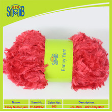 shanghai smb fancy yarn factory wholesale oeko tex quality 100%polyester soft dyed feather yarn spinners for hand knitting