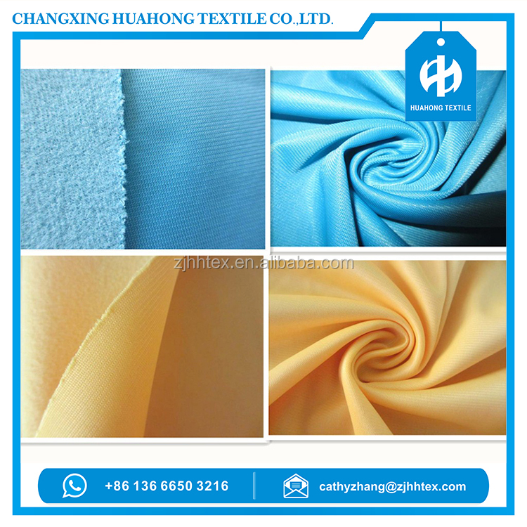Tricot knit polyester fleece fabric for sportswear from changxing factory