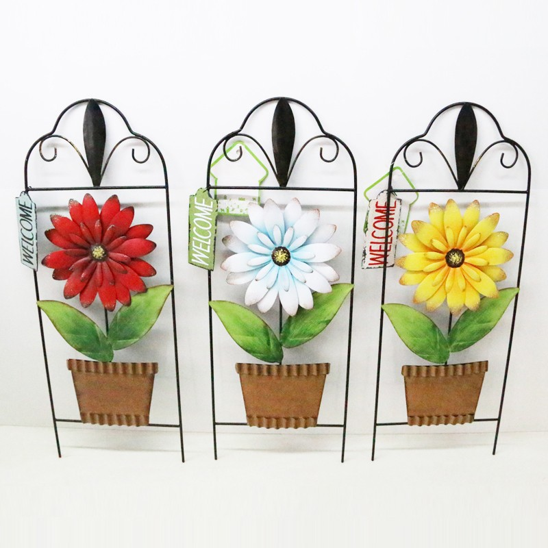 wholesale metal flower pot bohemian home decor wall hanging