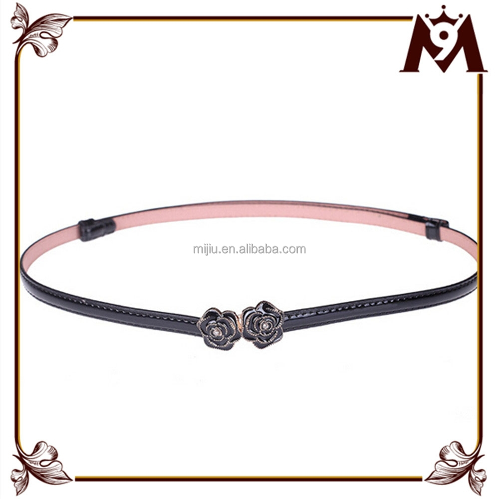 new products 2016 ladies skinny wasit belt with flower double buckle