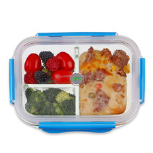 1050ml 3 compartment galss prep meal container with Tritan lid
