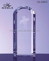 Clear Glass Custom Cross Engraved Arch Plaque K9 Crystal Embassy Trophy For Souvenir.
