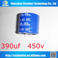 Cheap price HCG 450v 390uf dip aluminum electrolytic capacitor