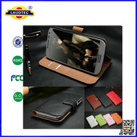 Luxury Genuine Real Leather Wallet Case Cover for Samsung Galaxy s5 mini Leather Case--Laudtec