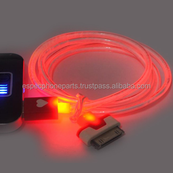 Round LED Light USB Cable for iphone 4 / 4S