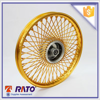 Chinese high quality 17 inch double disc brake motorcycle golden wheel