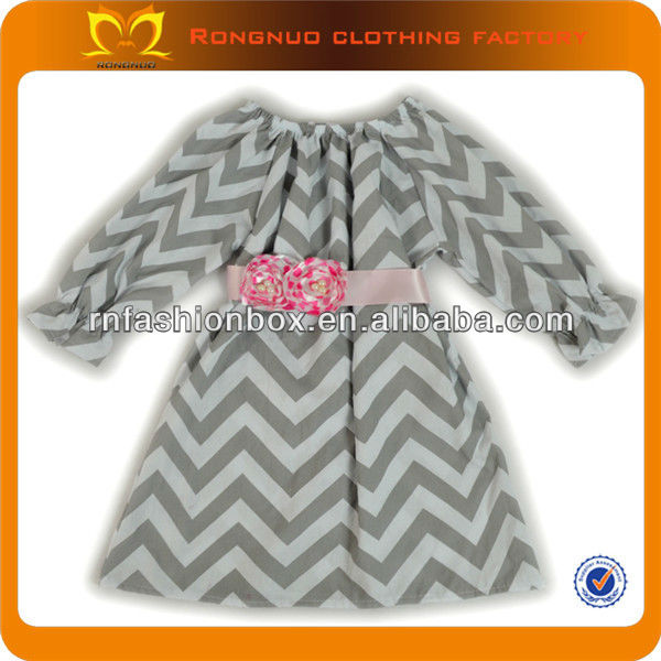 Dresses new fashion 2013 chevron children's prom gown Latest girls party long dress with pink satin ribbon belt