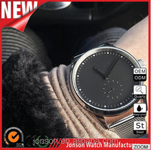 Classic interchangeable genuine leather watch custom logo stainless steel back water resistant montre