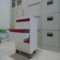 Four wheels movable office filing cabinet/red&white steel mobile storage cabinet