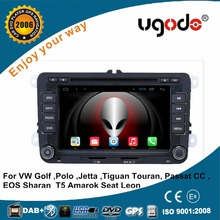 ugode Hot Sale VW car dvd player android 7'' 2 din Volkswagen Polo car radio mp3