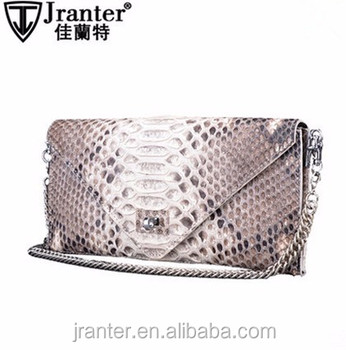 Latest designer python snake skin evening hand bag/shoulder bag,fashion envelope clutch bag