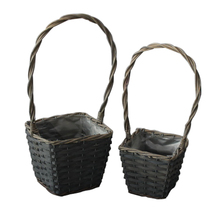 factory supply retro plastic lined wicker basket for plant