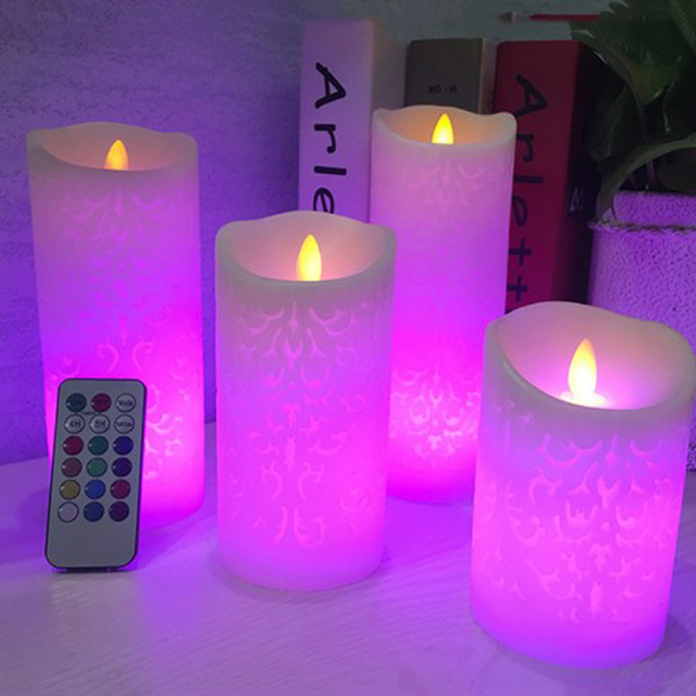Unionpromo color changing led flameless candle with remote control