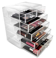 Clear rectangle jewelery and cosmetic storage plastic makeup organizer