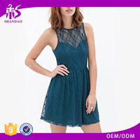 2017 Guangzhou Shandao Latest Fashion Design Women Summer Casual Sleeveless Short Ruffle Green Lace Pakistani New Style Dresses