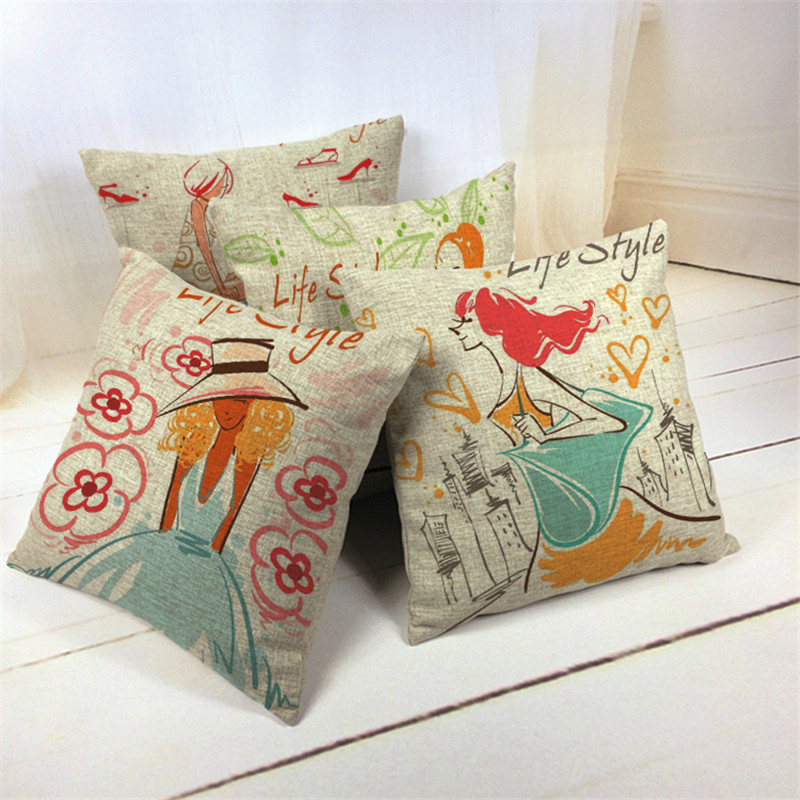 Luxury Cotton Cartoon <strong>Beauty</strong> Almofadas Pillowcase Cojines 45Cmx45Cm Square Houseware Decor Handmade Pillow Case